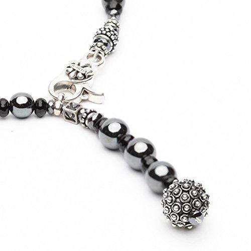K-Arts Anthrazit Hämatit Kette aus 8 mm glänzenden Hämatit Perlen mit Onyx Scheiben Bestückt mit...