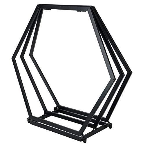 RM Design Kaminholzregal aus Metall in schwarz für außen und innen 70 cm breiter Kaminholzständer ohne Rückwand