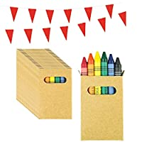 Partituki Sets of Coloring Crayons. Each one with 6 Crayons in Assorted Colors and a 10m Garland. Ideal Gift for Piñatas or for Children
