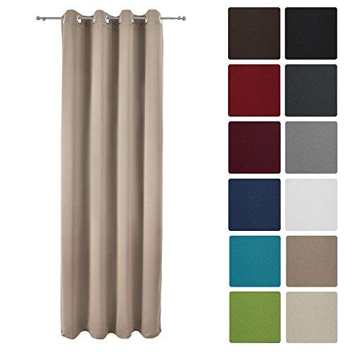 Beige Fenster (Beautissu Blackout-Vorhang Amelie mit Ösen - 140x245 cm Sand (Beige) Uni - Verdunklungsgardine Ösenschal Blickdicht)