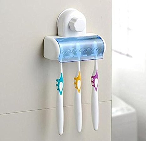 Sunam'S Easy 5 Toothbrush Holder Set with Wall Mount Strong Suction Cup ( COMBO Pack: Tongue Cleanser Absolutely FREE...!!! )