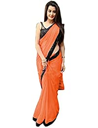 Gk Trendz Women's Chiffon Saree With Blouse Piece (Pd-Pari65-1_Orange)