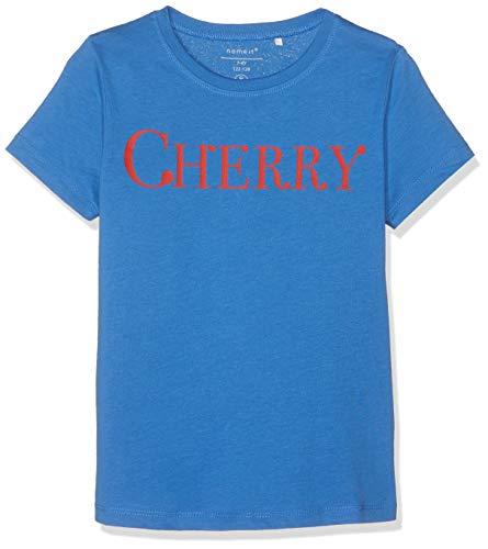 NAME IT Mädchen T-Shirt NKFDUNYA SS TOP, Blau (Strong Blue), 146 (Herstellergröße: 146-152) -