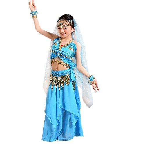 1001 Nacht Kostüm Mädchen Kinder Bauchtanz Kostüme Bollywood Tanzkostüm Blau 128 34