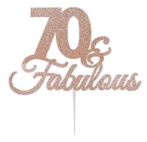 LissieLou 70 & Fabulous Cake Topper Tarjeta de 70 cumpleaños con Purpurina  Fabricada en el Reino Unido