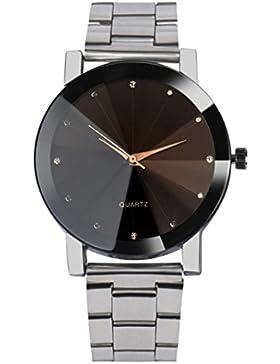 BeautyTop Art- und Weisemänner Kristall-Edelstahl-analoge Quarz-Armband Armbanduhren (silber)