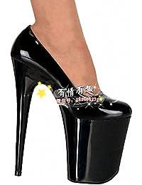 GaoXiao modèle de spectacle le défilé des chaussures de 18 centimètres de talon de chaussures chaussures,17 cm noir