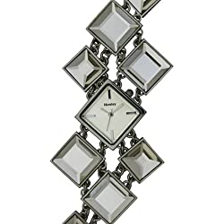 Henley Ladies Quartz Watch with White Dial Analogue Display and White Stainless Steel Plated Bracelet H07154.1
