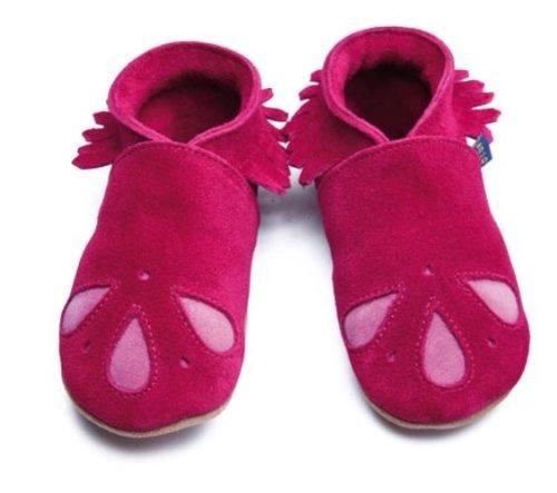 Inch Blue - 1729 XL - Chaussures Bébé Souples - Raindrop Mocassin - Daim Framboise / Gouttes Roses - T 22-23 cm
