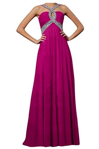 Toscane mariée ladies'fashion rueckenfrei chiffon abendkleider-les demoiselles d'honneur prom partykleider ball Rose - Fuchsia