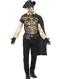 Smiffys, Herren Pest-Doktor Kostüm, Top, Umhang, Handschuhe und Lederhut Attrappe, Größe: L, 43742