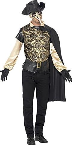 Smiffys, Herren Pest-Doktor Kostüm, Top, Umhang, Handschuhe und Lederhut Attrappe, Größe: M,