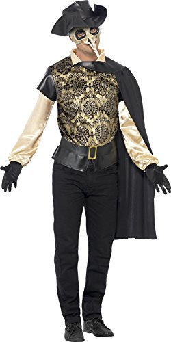 Smiffys, Herren Pest-Doktor Kostüm, Top, Umhang, Handschuhe und Lederhut Attrappe, Größe: M, 43742