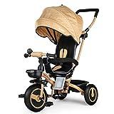 Fascol Tricycle Evolutif Velo Bébé Pliable Poussette avec Canne et Roues Silencieuses pour Enfant 6 Mois à 5 Ans (Or)