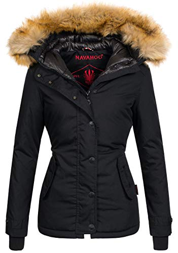 Navahoo warme Damen Winter Jacke Winterjacke Parka Mantel Laura2 Kunstfell B392 [B392-Laura2-Schwarz-Gr.XXL]