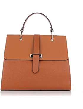 Laura Moretti - Glatte und metallische Handtasche aus Leder
