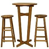 mewmewcat Set da Bar 3 pz in Legno Massello di Acacia,Set Tavolino Bar,Set Mobili Bistro per Interno Che Esterno