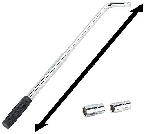AGT Radschlüssel: Teleskop-Radmutternschlüssel mit 2 Aufsätzen für 17, 19, 21 & 23 mm (Radmutterschlüssel) -
