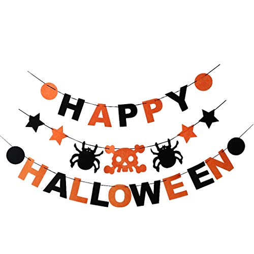 Homyl 3stk. Stoffgirlande Wimpelgirlande Wimpelkette Ammer Banner Dekoration für Halloween und Party
