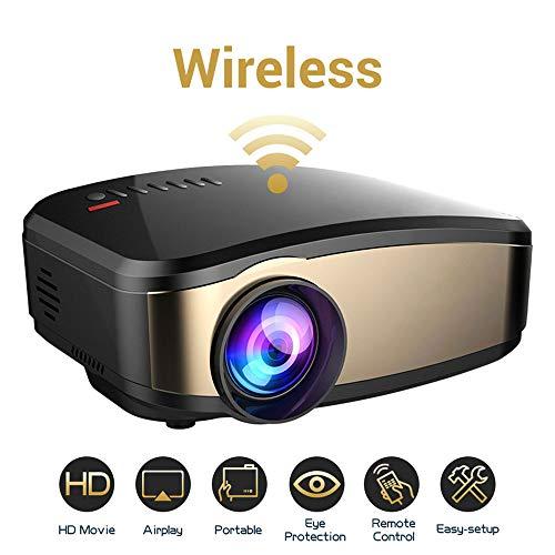 TLgf WiFi Video Projektor, Weton 50% Brighter Wireless Movie Projector 1080P HD LED Portable Mini Projector Smartphone Home Theater Projectors, Support HDMI USB VGA AV SD Hd Portable Mini