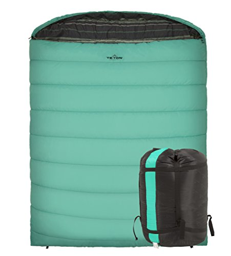 TETON Sports Mammoth 0F Queen Size Sleeping Bag Double Sleeping Bag Perfect For Base Camp While Cold Weather Camping Backpacking And Hiking Teal
