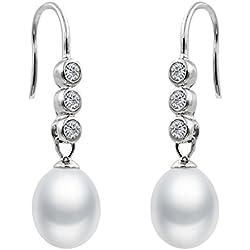 Pendientes de Mujer de Perlas Cultivadas de Agua Dulce tipo Gota de Agua de 7-8 mm Blancas con Tres Circonitas SECRET & YOU - Pendientes de Plata de Ley Rodiada de 925 milésimas