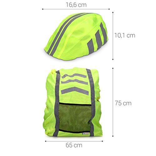 kwmobile Regenschutz Set für Helm Rucksack – Helmüberzug Regenhülle Schulranzen Helmschutz – Schutzhülle Fahrradhelm Ranzen – unisex - 4