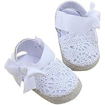 Bebé Prewalker Zapatos Auxma primeros pasos para bebé-niñas,Zapatos de flores de encaje,sandalias de bowknot para 0-6 6-12 12-18 meses