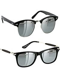 Younky Combo Of Uv Protected Wayfarer Silver Mercury Sunglasses For Men Women Boys & Girls ( Clbmsm-Gldnstickslvrmrcy|55|Silver ) - 2 Sunglass Case
