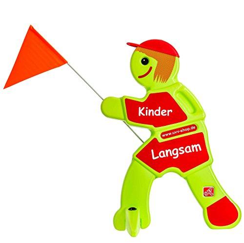 UvV Lisa Vorsicht Achtung Kinder Warnschild, Warnfigur - grün und reflektierend - Sicherheit für spielende Kinder (Rot - Kinder Langsam)