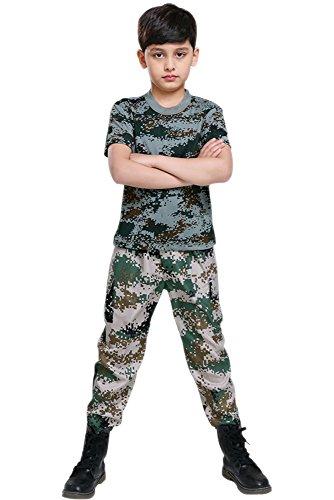 KINDOYO Kind Junge Mädchen Mann Frau Sommer Camp Military Training Kleidung, Camouflage Kostüm, Oberteile + Hosen (Stil 1,EU 160 = Tag 170) (Militärische Frau Kostüm)