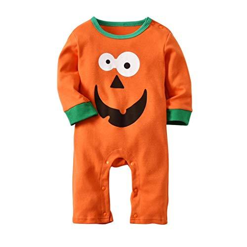 ADESHOP Halloween Kostüme, Baby Langarm Schönheit Kürbis Lächeln Drucken Overall Strampler + Mütze O1