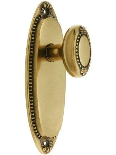 Lydian Door Set With Beaded Oval Knobs Passage In Antique Brass. Unique Door Knobs. by Emtek -