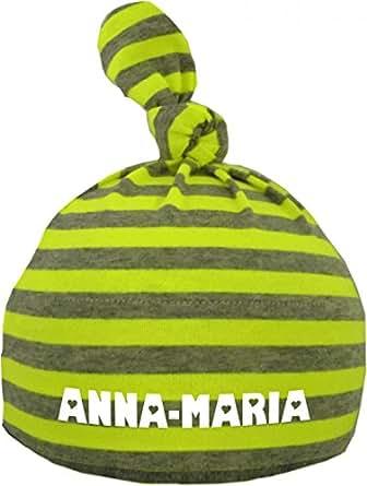 Baby Mütze bedruckt mit dem NAMEN des Kindes (Farbe neongelb/grau) (Gr. 0-18 Monate)