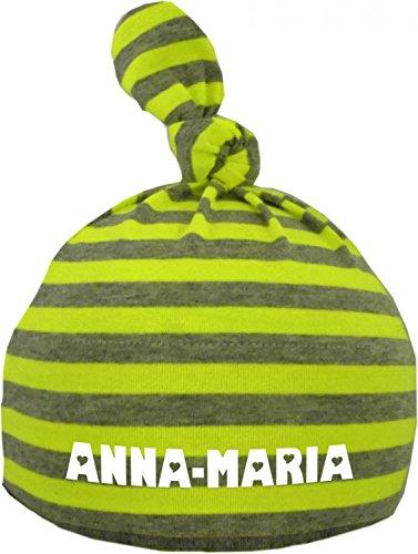 Baby Mütze bedruckt mit dem NAMEN des Kindes (Farbe neongelb/grau) (Gr. 12-36 Monate)