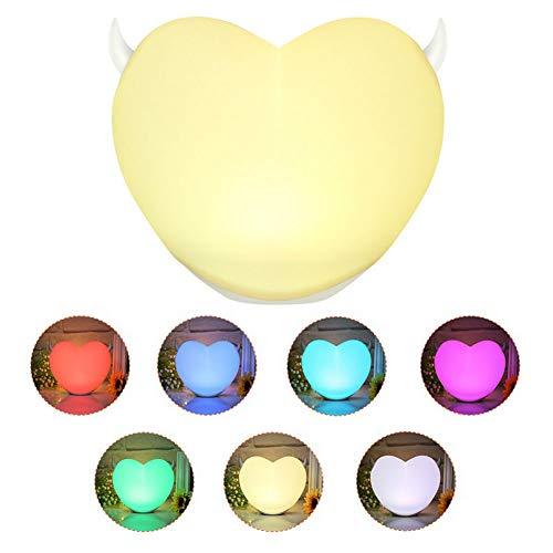 YJF Touch Control LED Nachttischlampe Einstellbare Helligkeit Nachtlicht 7 Farbwechsel USB Aufladen -