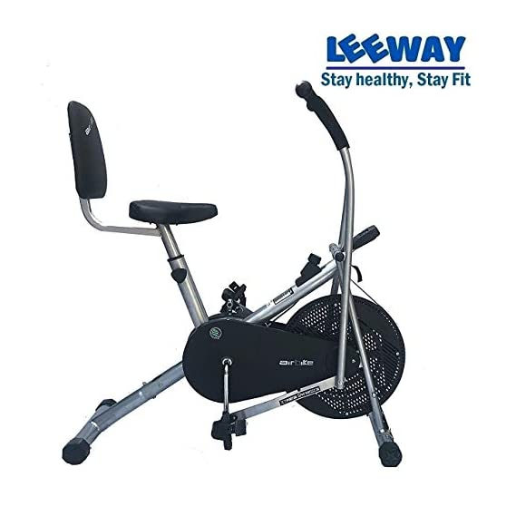 Leeway Air Bike| Exercise Cycle| Moving Handle Gym Bike| Cardio Fitness Work Out| Cross fit Equipment| Dual Action Airbike for Home (Back Support Seat)