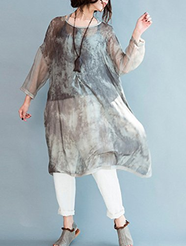MatchLife Femme Imprimé Robe Gris