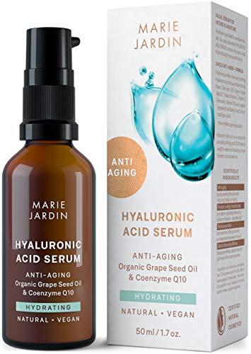 Hyaluron Serum mit Q10 und Vitamin C hochdosiert, 50 ml, bewiesener Anti Aging Effekt, Milderung von Falten und Augenringen, Basis für Make up - zertifizierte BIO Naturkosmetik von Marie Jardin (50ml)