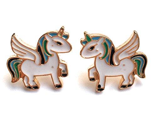 FizzyButton Regalos de Oro del Esmalte Tono de aretes de Unicornio en la Caja de Regalo