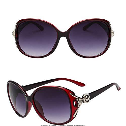 DAIYSNAFDN Vintage Lady Sunglasses Frauen Brille Retro Metall Kunststoff Sonnenbrille Lunette Uv400 Red