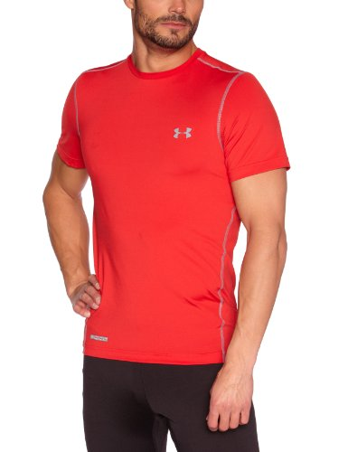 Under Armour HeatGear Sonic Fitted Short Sleeve, Uomo, Top Heatgear Sonic Fitted Short Sleeve, rot, (Base American Apparel T-shirt)