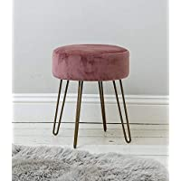 Sue Ryder Rose Pink Upholstered Velvet Footstool Rose Gold Hairpin Style Legs
