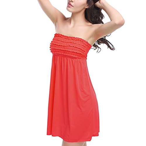 JIAJIA - Copricostume - Reggiseno a fascia - Basic - Senza maniche  -  donna Rosso