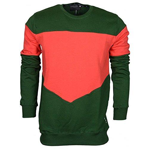 Criminal Damage Herren Sweatshirt Olive/Red Gr. Small, Olive/Red