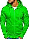 BOLF Herren Kapuzenpullover Sweatshirt Hoodie mit Reißverschluss J.Style 2008-A Grun(Hell) XL [1A1]