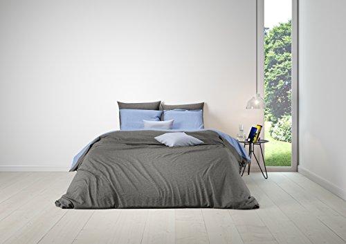 Aminata – Bettwäsche 155x220 cm Baumwolle + Reißverschluss zum Wenden unifarben Blau & Grau Wendebettwäsche einfarbig Hellblau Anthrazit 2-teiliges Bettwäscheset Ganzjahres Bettbezug Übergröße