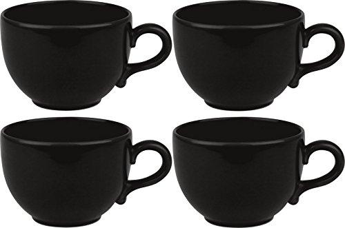 Faszination-Wohnen 4er Set 4 Stück Jumbotassen Suppentassen große Jumbo Tassen 600ml schwarz