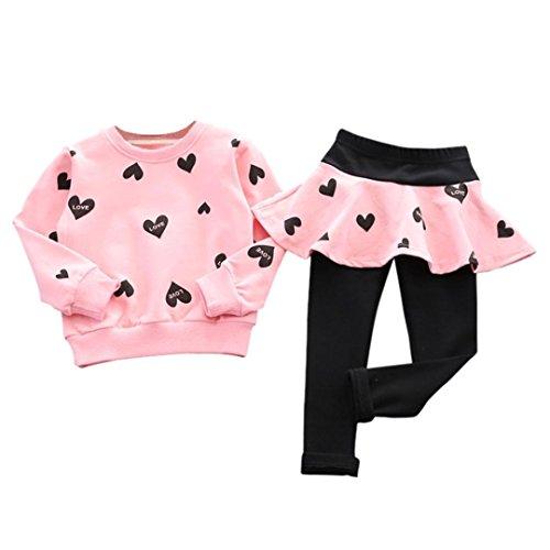 PINEsong Kind Mädchen Rot Rosa Marine niedlich Prinzessin Liebesherz Drucken Langarm-Shirt Pullover + Hosen Hosenrock Rock Sportanzug Kleidung (Rosa, 140)