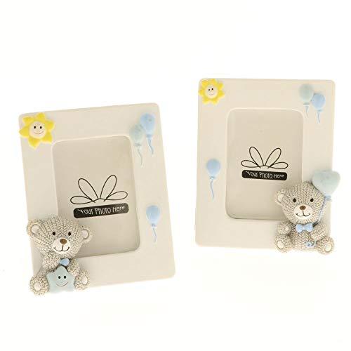 4 pz glitter cornice portafoto con orsetto celeste 9.5x11 cm bomboniera